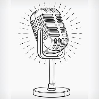Doodle podcasting microfoon handtekening schets