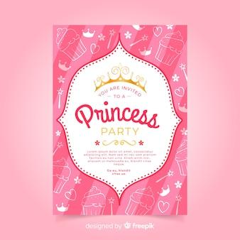 Doodle prinses partij uitnodigingssjabloon