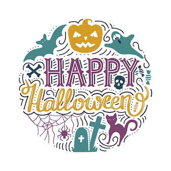 Doodle print met belettering happy halloween.