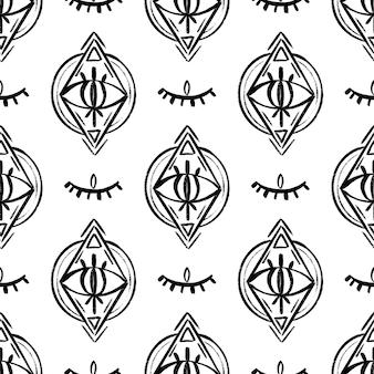 Doodle psychedelische ogen naadloze patroon. boho occult behang en textiel oppervlak achtergrond. . vector illustratie