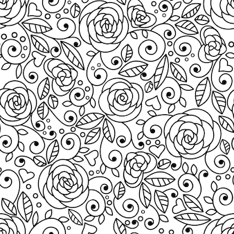 Doodle rozen naadloze patroon lineart
