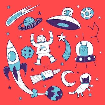 Doodle ruimte, planeten, astronaut, raket en sterren