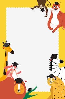 Doodle safari frame vector in geel met schattige dieren voor kinderen