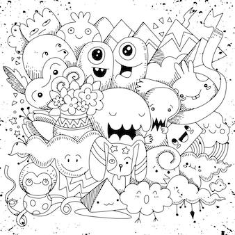 Doodle schattig monster achtergrond