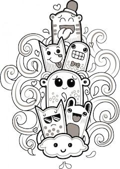 Doodle schattig monster