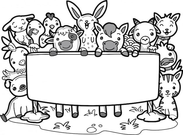 Doodle schattige boerderijdieren met lege prikbord