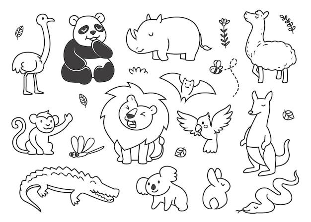 Doodle schattige dieren koninkrijk