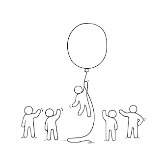 Doodle schattige miniatuurscène van arbeiders met ballon. schets concept over succes en leiderschap.