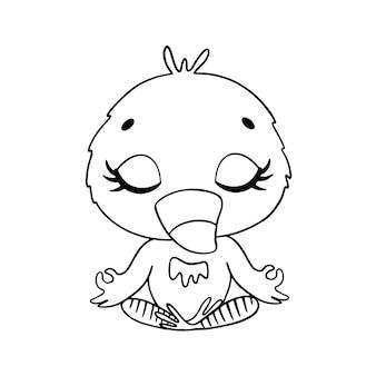 Doodle schattige tekenfilm dieren mediteren. flamingo meditatie kleurplaat.