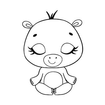 Doodle schattige tekenfilm dieren mediteren. nijlpaard meditatie kleurplaat.