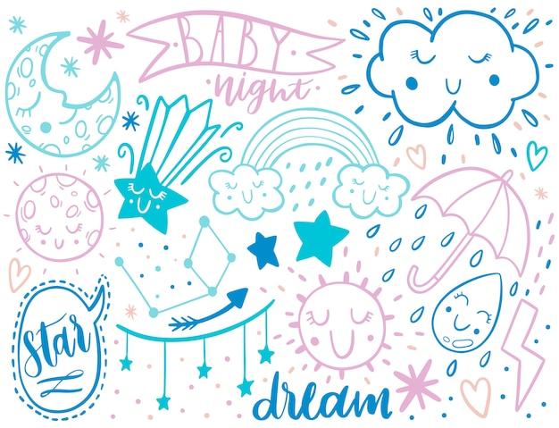 Doodle schets kinderen instellen. hand getrokken stijl.