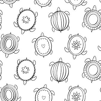 Doodle schildpadden in de stijl van scandi. vector naadloos patroon.
