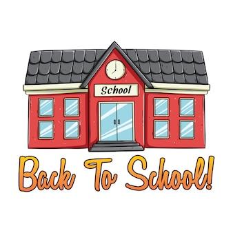 Doodle schoolgebouw met kleur en terug naar schooltekst