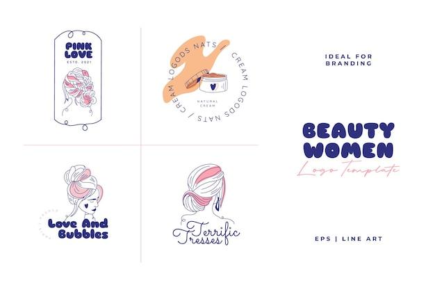 Doodle schoonheid logo sjabloon set
