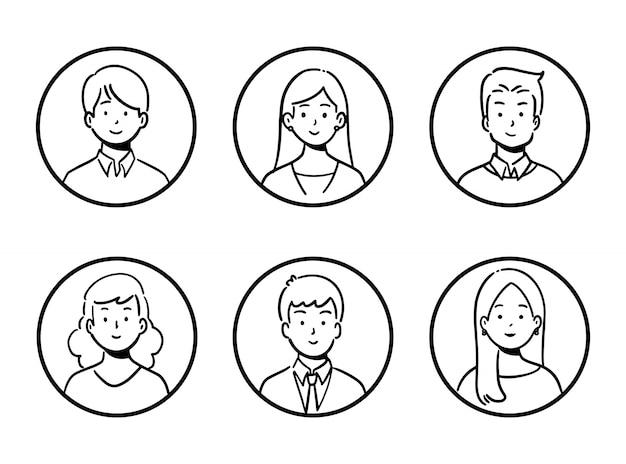 Doodle set avatar kantoormedewerkers, vrolijke mensen, handgetekende pictogramstijl, karakterontwerp, illustratie.