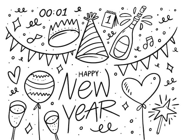 Doodle set elementen voor nieuwjaarsdag. zwarte omtrekkleur in cartoon-stijl. geïsoleerd op witte achtergrond.