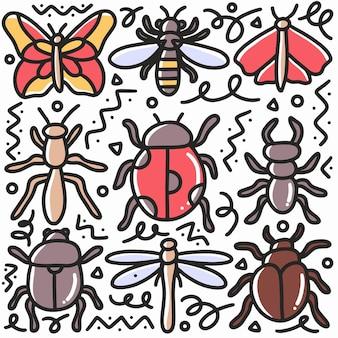 Doodle set insect handtekening met pictogrammen en ontwerpelementen