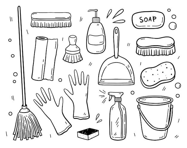 Doodle set items voor het schoonmaken werkuitrusting om het huis schoon te houden