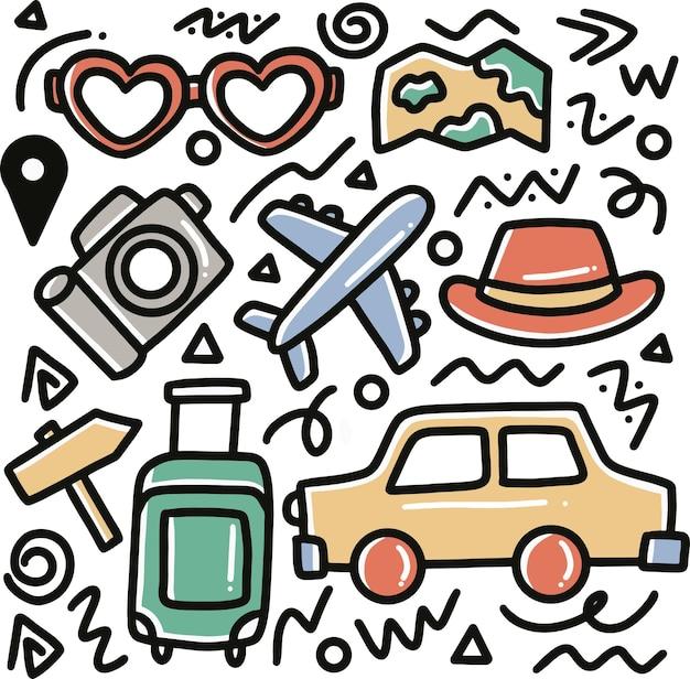 Doodle set vakantie hand tekenen met pictogrammen en ontwerpelementen