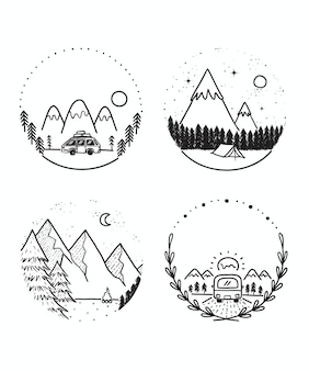Doodle set van reizen en kamperen