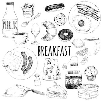 Doodle set van voedsel voor het ontbijt