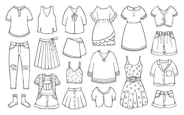 Doodle set vrouwelijke kleding voor lente en zomer
