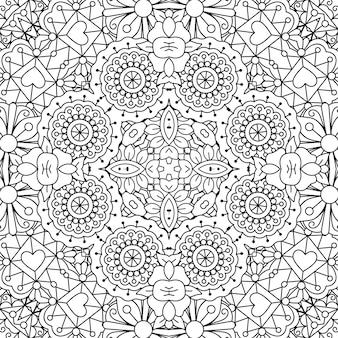 Doodle sier patroon met bloemen