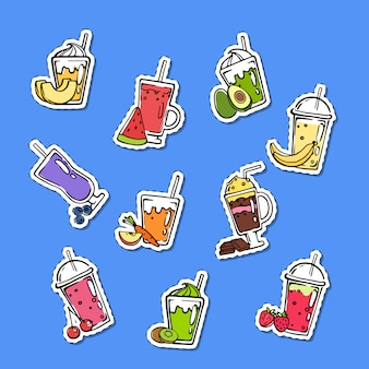 Doodle smoothie stickers set