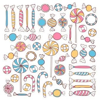 Doodle snoepjes snoep hand getekende objecten set. vector voedsel schets objecten set