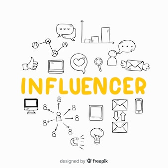 Doodle sociale influencer achtergrond