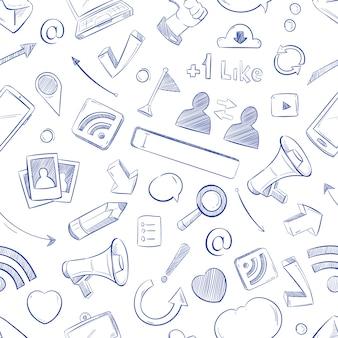 Doodle sociale media patroon