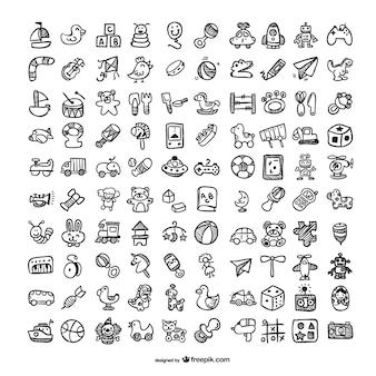 Doodle speelgoed pictogrammen instellen