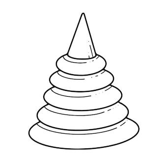 Doodle speelgoed schattige piramide vectorillustratie op witte achtergrond