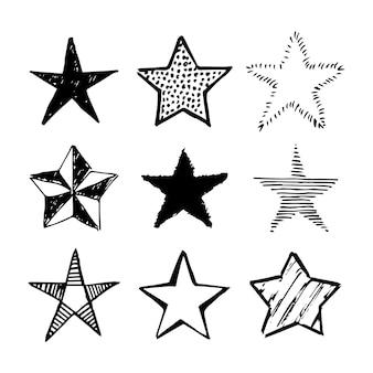 Doodle sterren. set van negen zwarte hand getrokken sterren geïsoleerd op een witte achtergrond. vector illustratie