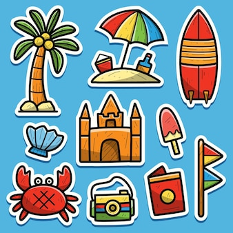 Doodle sticker cartoon strand hand getrokken illustratie