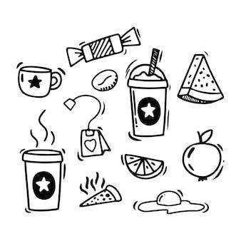 Doodle stijl handtekening. eten en drinken. geïsoleerde vectorillustratie.