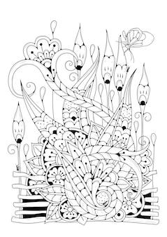 Doodle stijl kleurplaat. magische tuin met bloemen art line illustratie om in te kleuren