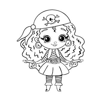 Doodle stijl piraat meisje geïsoleerd op wit. kleurplaat piratenmeisje