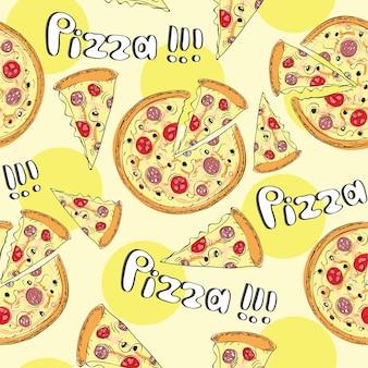 Doodle stijl pizza slice naadloze vector achtergrond