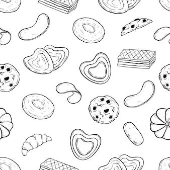 Doodle stijl van koekjes of koekjes in naadloos patroon