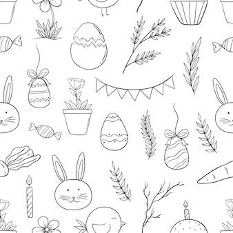 Doodle stijl van pasen pictogrammen in naadloos patroon