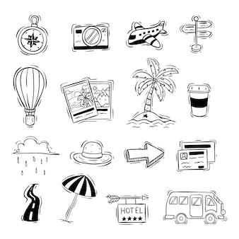 Doodle stijl van schattige reizen pictogrammen of elementen op wit