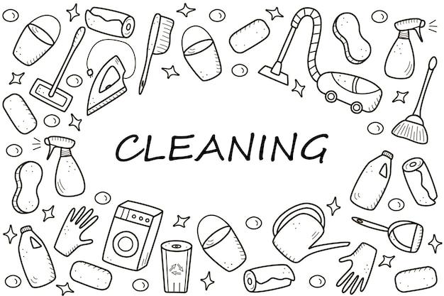 Doodle stijl vector schoonmaak elementen. een set tekeningen van schoonmaakproducten en artikelen. wasset voor de kamer.