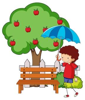 Doodle stripfiguur een meisje met een paraplu met appelboom