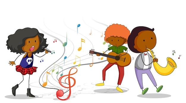 Doodle stripfiguur met muziekband op witte achtergrond