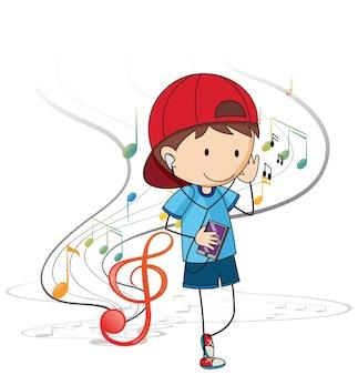 Doodle stripfiguur van een jongen die muziek luistert met muzikale melodiesymbolen