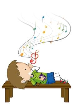 Doodle stripfiguur van een jongen die muziek luistert terwijl hij op brench ligt