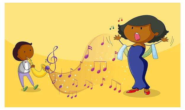 Doodle stripfiguur van een zangeres die zingt met muzikale melodiesymbolen
