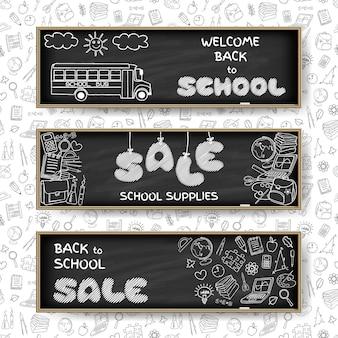 Doodle terug naar school verkoop banners
