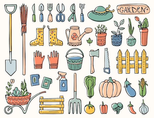 Doodle tuinset gereedschappen en elementen